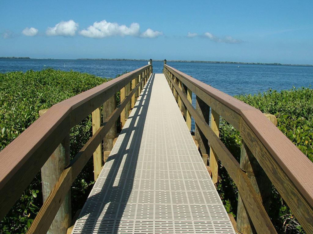 A raised walkway using ThruFlow decking panels