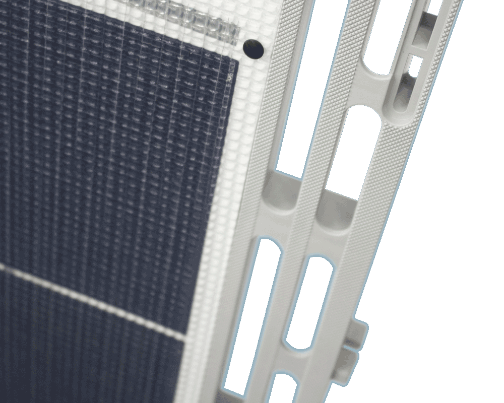 A close up of a Sol solar powered dock panel.